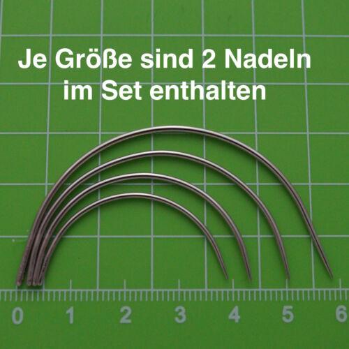 8 gebogene Nadeln Polsternadeln Nähnadeln Sattlernadeln rund Leder NEU SET