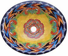 "Mexican Bathroom Ceramic Sink Talavera Handmade 17"" x 14"" # 203"