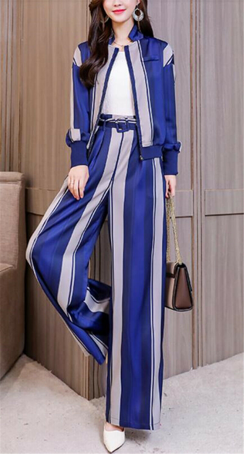 Spring Womens Two Pieces Suits Long Sleeves Coat High Waist Wide-leg Pants Dress
