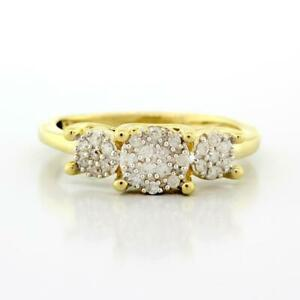 Estate-Cluster-Diamond-Ladies-Ring-14K-Yellow-Gold-0-35-CTW-Diamonds-Size-7