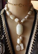 Vintage Necklace Egyptian Scarab Pendant Carved White Soapstone Beads Marmar