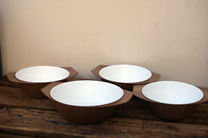 Vintage-Retro-HOLLYWOOD-TEMCO-Melmac-4-BOWLS-Brown-No-56-57-Melamine-Aust