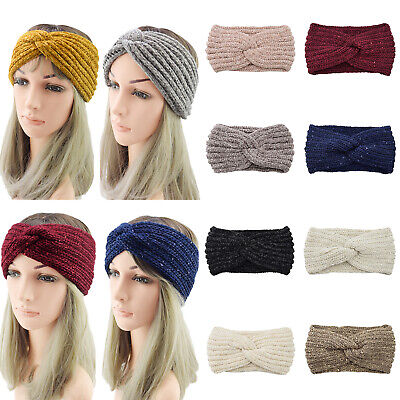 Crochet Plush Knitted Headband Thick Warm Sequins Hairband Hair Accessories