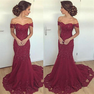 8d6b58aca61 Image is loading Off-Shoulder-Prom-Dresses-Lace-Mermaid-Maroon-Formal-