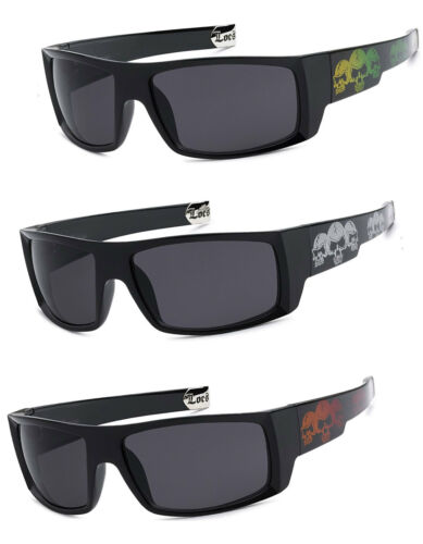 s Men OG Locs Authentic Rectangular Gangster Cholo Skull Sunglasses 1 or 3 Pair