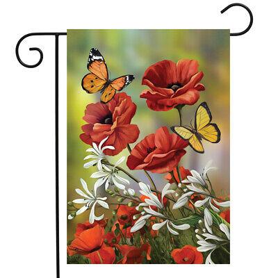 "Spring Butterflies Welcome Garden Flag Floral 12.5/"" x 18/"" Briarwood Lane"