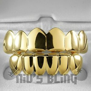 18K-Gold-IP-Plated-GRILLZ-Top-amp-Bottom-Mouth-Teeth-Hip-Hop-STAINLESS-STEEL-Grill