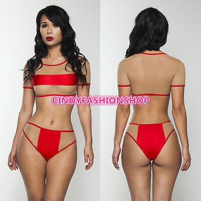 New Sexy Women Two PC Mesh Sheer  Monokini  Bikini Swimsuit Swimwear Beachwear