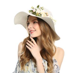 fde4017ac3344 Summer Women Hat Flower Headband Wide Brim Foldable Sun Caps Wedding ...
