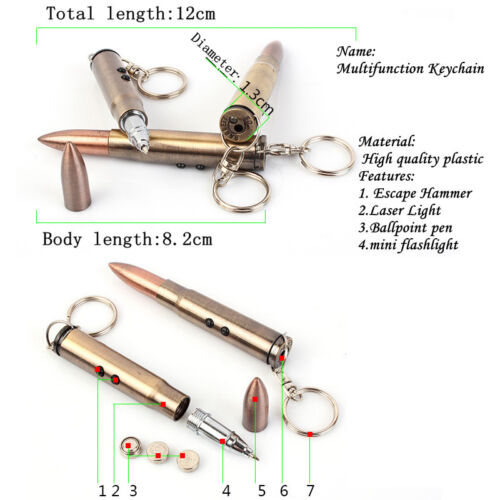 Mutifunction Bullet Shape Keychain Laser Light Hammer Ballpoint Pen Key Ring