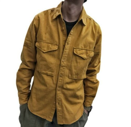 Mens Classic Retro style Shirt Jacket American Tooling Outdoor Casual Plain L