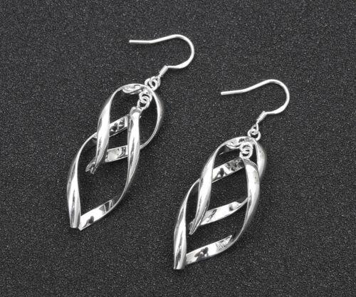Femme Fashion Jewelry Charm 925 Argent Plaqué bicyclique flexion Dangle Earrings