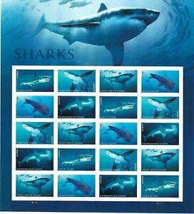 Scott 5227 (5223-27) - Sharks Mini Sheet of 20 Forever Stamps MNH