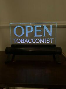 Antique vintage advertising  tobacconists light up shop open sign salvage