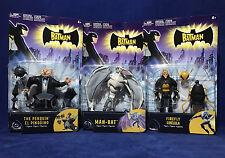 3 New THE BATMAN Figures - FIREFLY Man-Bat PENGUIN - Animated Series KIDS WB