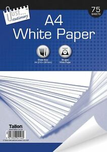 A4 75 SHEETS WHITE PRINTING OFFICE PLAIN PRINTER COPIER PAPER 75gsm /& 80gsm