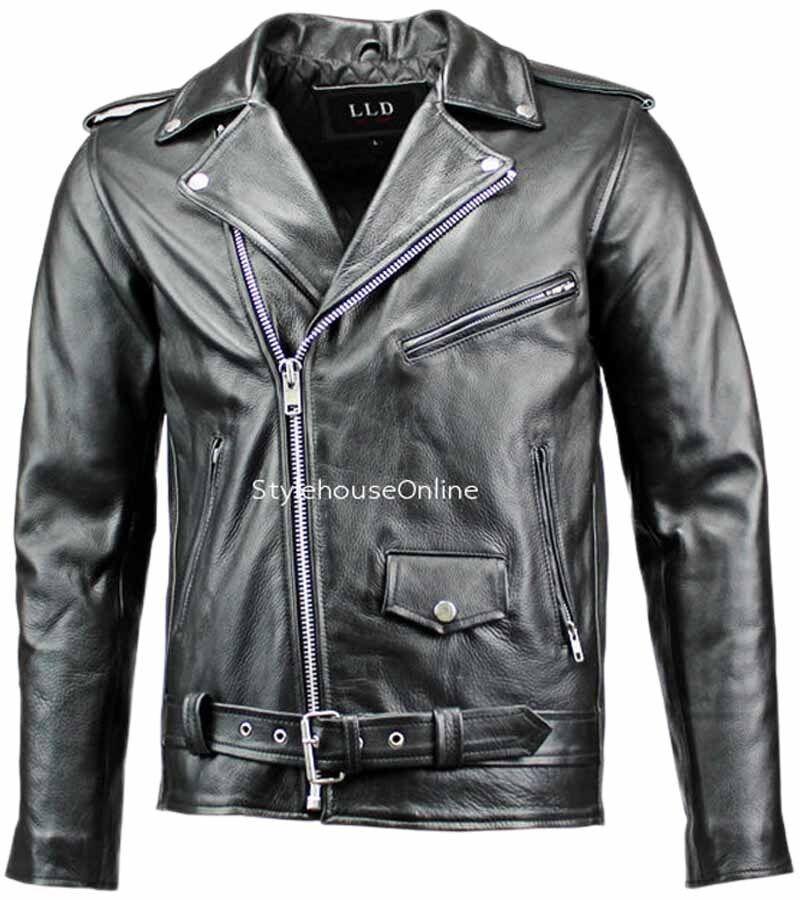 c35fa3b60 Details about Black Biker Leather Jacket | Mens Classic Brando NEW MIB Soft  Cow Hide Leather