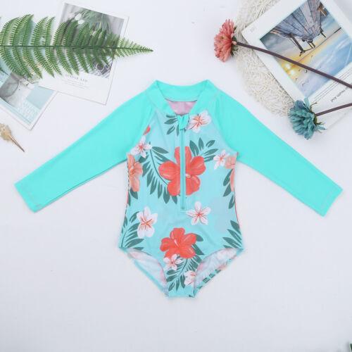 Baby Mädchen Badeanzug Blumen Gedruckt Langarm Schwimmanzug mit Reißverschluss