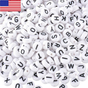 400Pcs White Letter// Alphabet Acrylic Beads For Bracelet DIY 7mm