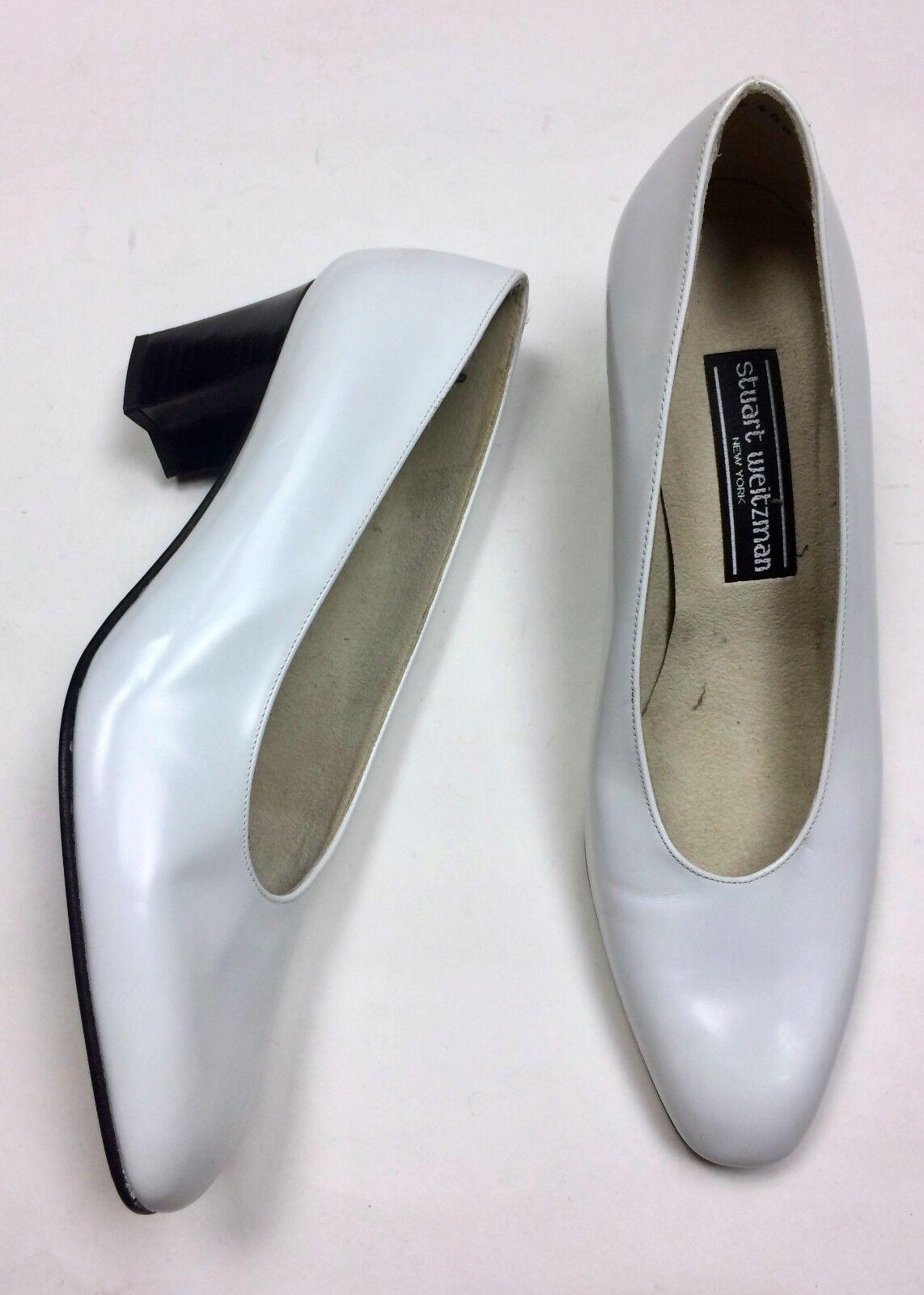NEU Stuart Weitzman 8 B WEISS Leder Block Heel Closed Toe Pumps Heels Vintage