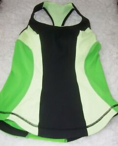 Lululemon Cardio Kick Black/Faded Zap/Frond Racerback Tank Top Women's Size 2