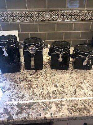 Oggi Grip Handle 4 Piece Black Kitchen Ceramic Air Tight Canister Set W Spoons Ebay