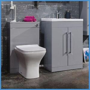 Vanity Unit Bathroom Grey 500mm modern grey vanity unit & wc unit bathroom cabinet basin btw