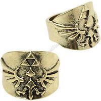 Nintendo The Legend Of Zelda Triforce Logo Gold Toned Costume Ring S Sz 7