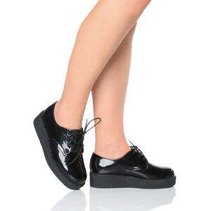 WOMENS-LADIES-FLAT-PLATFORM-WEDGE-LACE-UP-GOTH-PUNK-CREEPERS-BROGUES-SHOES-SIZE