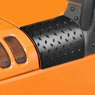 2Pcs Black Cowl Body Armor Cover Diamond Plate Trim For 07-16 Jeep Wrangler JK