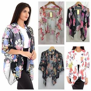9d15c7538f Image is loading WOMENS-LADIES-FLORAL-CHIFFON-KIMONO-WATERFALL-CARDIGAN -SHRUG-