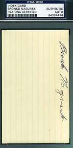 Bronko Nagurski Psa Dna Coa Autograph 3x5 Index Card Hand Signed Authentic