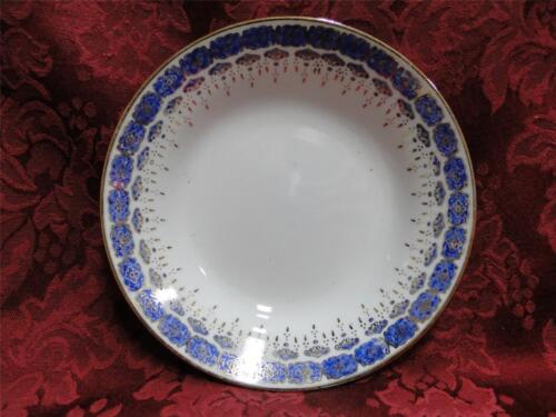 """Cereal Bowl Custom Porcelain Royal Blue on White with Gold 6/"""" s"""
