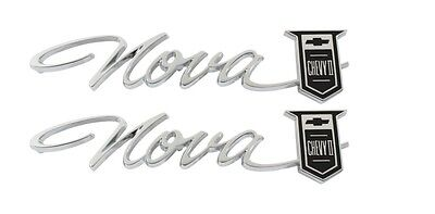 "1966-67 /""Nova Chevy II/"" Rear Quarter Emblem Pair NEW TrimParts 66 67 US-made"