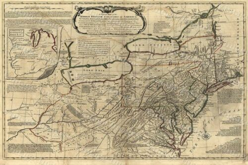 HUGE historic 1771 MAP MIDDLE BRITISH COLONIES IN AMERICA ANTIQUE STYLE print