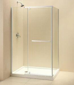 DREAMLINE 32 X 46 QUATRA 3 8 GLASS FRAMELESS PIVOT CORNER S