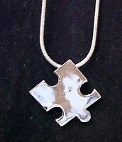 Autism Puzzle Piece Pendant 18 Snake Chain Silver Plated Awareness Necklace