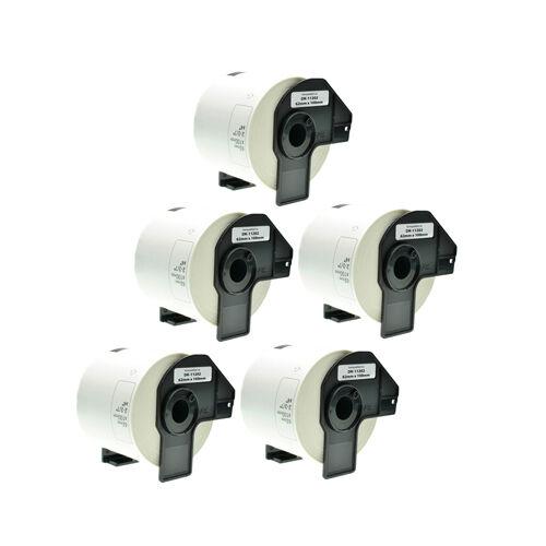 5x Versandetiketten Päckchen 62x100mm Weiß für Brother P-Touch QL 500 BS DK11202