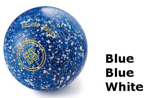 DRAKES PRIDE FLAT GREEN PROFESSIONAL blueE,blueE & WHITE BOWLS  B3246C