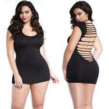 Plus Size Lingerie One Size Queen Black Cap Sleeve Mini Dress Chemise  R152X