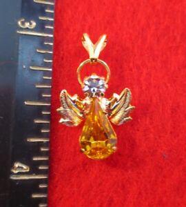 14 Karat Gold Ep Geburtsstein November Topas Kristall-engel Charm Anhänger Halten Sie Die Ganze Zeit Fit