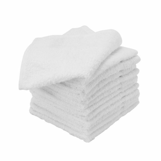 60 new white  cotton hotel washcloths 12x12 wiping bath cleaning cloth