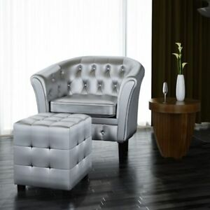 Image Is Loading Silver Tufted Tub Barrel Design Armchair Club Chair
