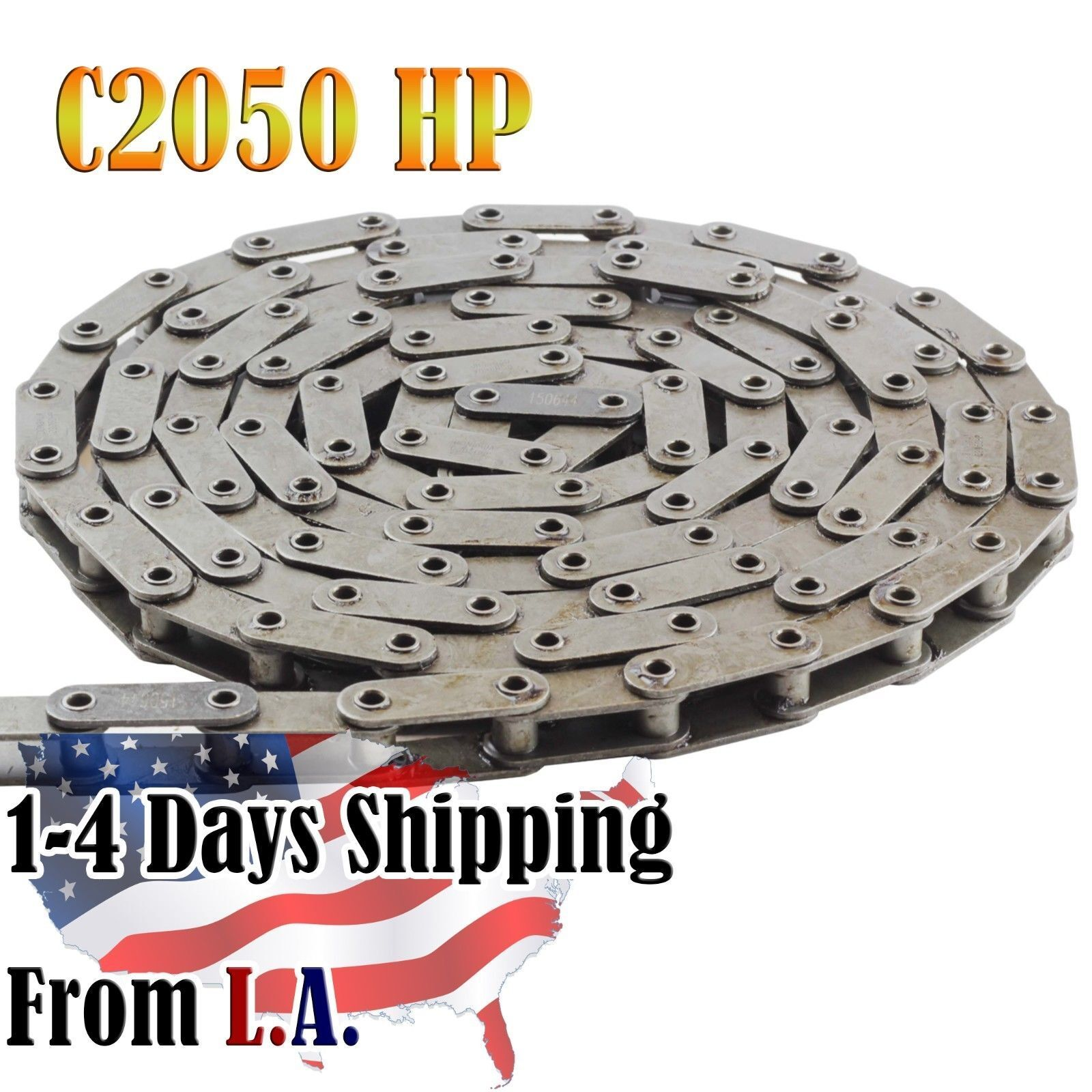 C2050HP Hollow Pin Conveyor Roller Chain 10 Feet with 1 Connecting Link