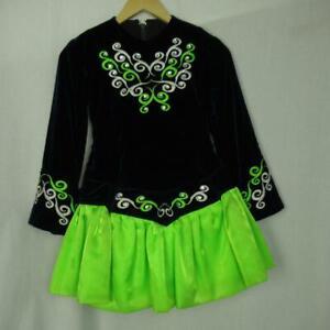 Girl-039-s-Irish-Dancing-Dress-Navy-Neon-Green-Cape-Tailor-Made-Ireland-Est-9-10-yrs