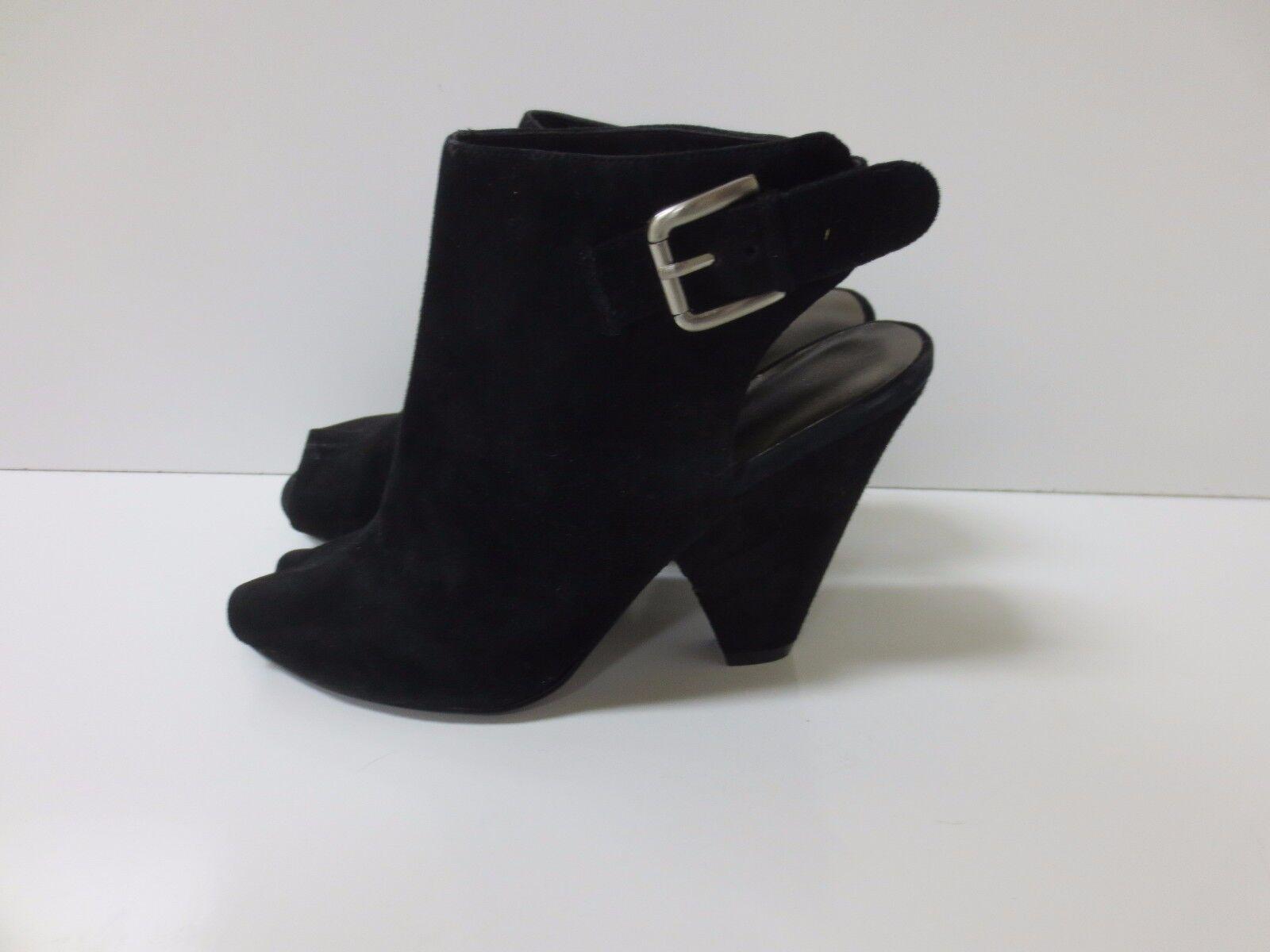 NINE WEST Lahdidah Open Toe Black Suede Ankle Boot Bootie shoes 5.5M MINT CONDIT