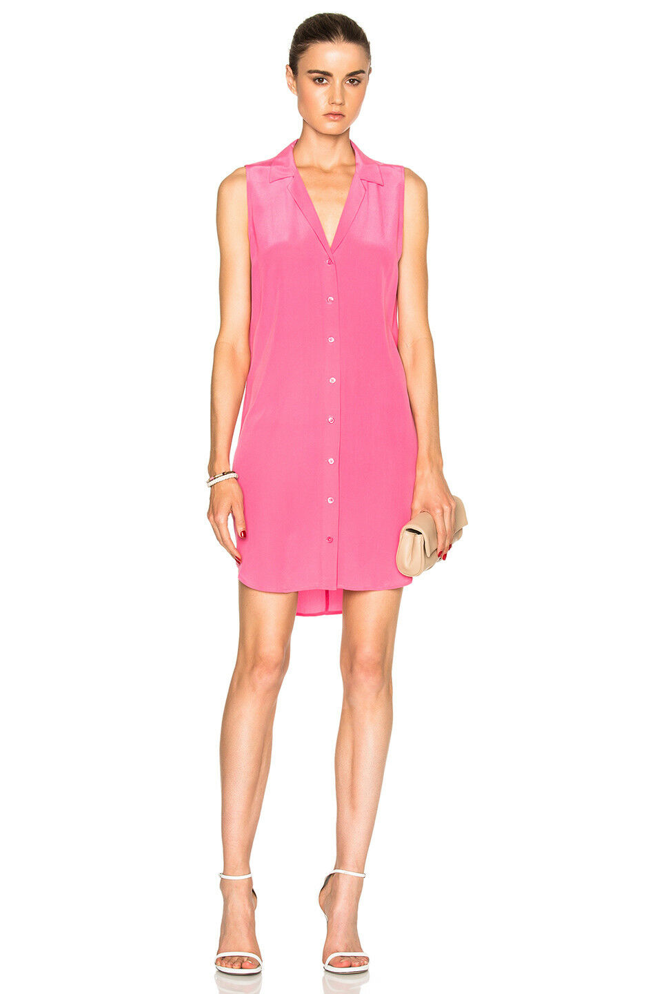 NEW Equipment 'Adalyn' Sleeveless Silk Shirtdress in Pink - Size S