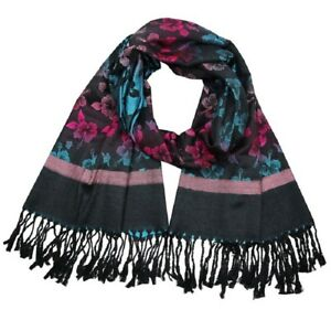 Black-Grey-Pink-Blue-Floral-Warm-Flower-Reversible-Scarf-Wrap-Pashmina-LilyRosa