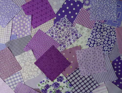 Patchwork squares 4x4 ins Blue Packs of 25 or 50 Purple or Green 10cms Pink