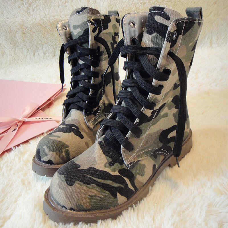 Women's Martin Boots British High Top Training Lace Up Camouflage Mid Calf Boots